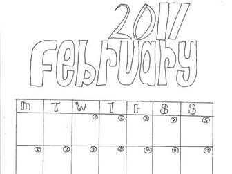 February Calendar Organiser and Colouring Sheet