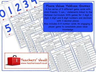 Place Value Yahtzee Games