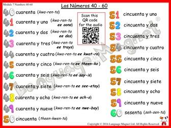 Spanish Numbers 40 to 60 Audio Sheet