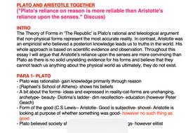 OCR RELIGIOUS STUDIES- Plato and Aristotle ESSAY PLANS