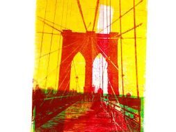 Collage in mono-print art: Impressions of streets, new buildings, constructions, cranes in the City