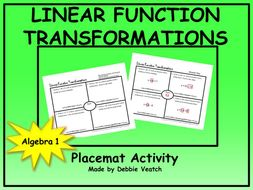 Linear Function Transformations Placemat Activity Free By