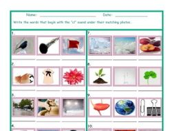 Phonics Consonant Blend CL Photo Worksheet