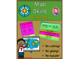 Map Skills DOUBLE-SIDED Flipbook!