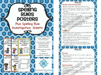 Spelling Rules Poster Pack Plus Spelling Rule Investigation Worksheets