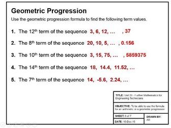 Maths for Engineers - Arithmetric and Geometric Series