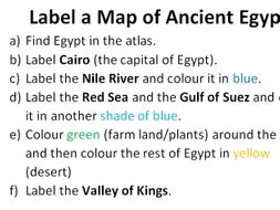 Label and Colour a Map of Ancient Egypt