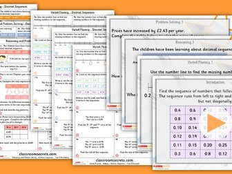 Year 5 Decimal Sequences Summer Block 1 Lesson Pack