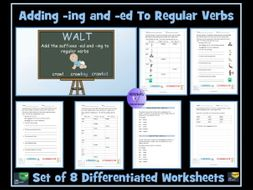 Verbs:  Adding -ing and -ed To  Verbs Worksheets