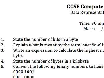 Binary and Hexadecimal unit test (with answers) for GCSE Computer Science
