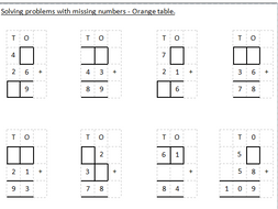 Maths, Missing numbers, Year 3 or 4, Column addition and subtraction.