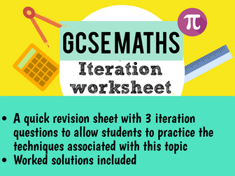 Maths GCSE iteration worksheet