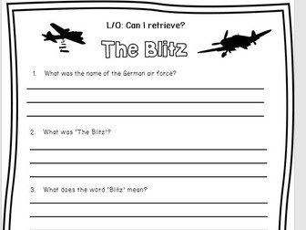 Reading Comprehension 'The Blitz' With Skill Specific Question Sheets.