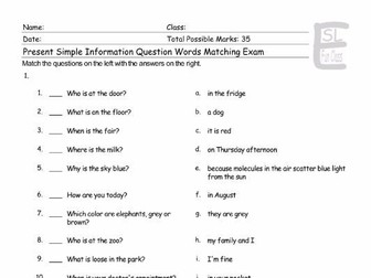 Present Simple Tense with Information Question Words Matching Exam
