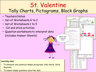 St Valentine-Themed: Tally Charts, Pictograms, Block Graphs,  Worksheets, Activities, Teacher Notes