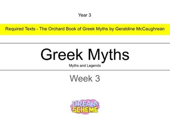 Year 3 - This presentation includes the final 5 lessons in this Greek Myths unit. Week 3 of 3.