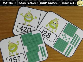 2 and  3-digit numbers loop cards