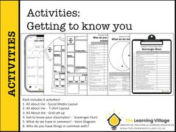 BACK TO SCHOOL: Getting to know you 6 activity pack!