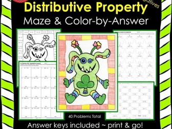 St. Patrick's Day Math Distributive Property (No Negs) Maze & Color by Number