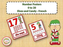 Number Anchor Charts 0 to 20 with Ten Frames - Christmas - French - Les Nombres