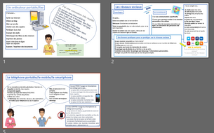French GCSE revision cheatsheets: Ιnternet and social media