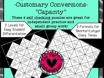 Converting Units of Capacity (US Customary System) Magic Puzzle Board
