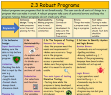 2.3 Robust Programs Summary Sheet (with quick fire questions) - GCSE Computer Studies Revision