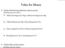gcse maths value for money worksheet teaching resources. Black Bedroom Furniture Sets. Home Design Ideas