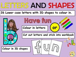Alphabet Letters lower case and 3D Shapes Worksheets/Activities Cut and Paste