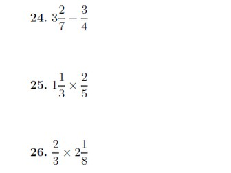 Mixed operations between fractions, mixed numbers and whole numbers worksheet (with solutions)