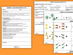 EYFS Maths Numbers - Addition Using Manipulatives (to 5) Planning, Resources & Observation Pack