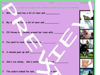Word Pairs or Binomials 3 Photo Worksheet Set
