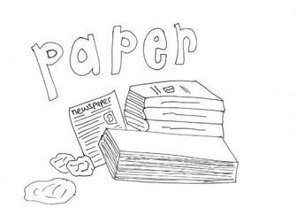 Paper :Recycling and Materials Colouring Page