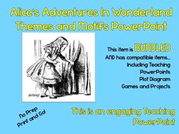 """Alice's Adventures in Wonderland"" Themes and Motifs Guided Instructional PowerPoint"