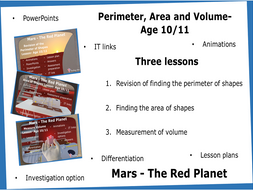 Age 10/11 Perimeter, Area and Volume- Three Lessons