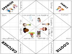 Basic Spanish Vocabulary: Family Cootie Catcher Game