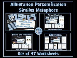 Personification, Alliteration, Similes and Metaphors 47 Worksheets