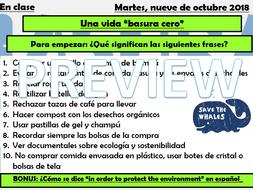 GCSE Spanish Environment - Zero Waste Lesson