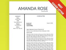 Cover Letter FREE Template Editable Education Resume Teacher