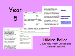 Year 5 Hilaire Belloc Poetry Lesson and Grammar Activities