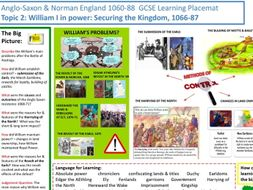 9-1 Edexcel History Learning/Topic Placemat for Anglo-Saxon and Norman England Topic 2: William I i