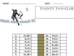 Avengers 99 club. Fun times tables quizzes designed to help children learn their times tables facts