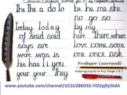 Examples Common Exception Spelling Words Cursive handwriting KS1 Year 1
