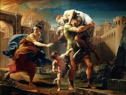 How does Aeneas link to Romulus in Rome's foundation story?