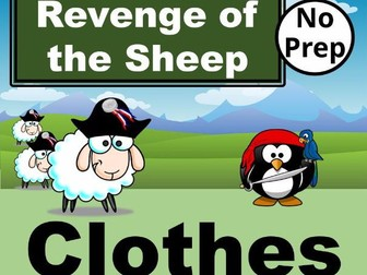 ESL Revenge of the Sheep! Interactive PowerPoint Games for CLOTHES Vocabulary in English.