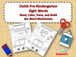 Dolch Pre-Kindergarten Read Trace and Build a Word Worksheets
