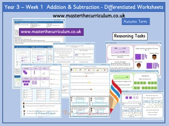 Year 3- Week 1- Block 2- Addition and Subtraction Differentiated PDF  Worksheets- White Rose Style