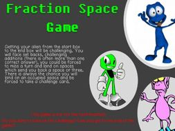 FRACTIONS SPACE GAME – GRADES 4 TO 6 – PRINTABLE – LITTLE PREP NEEDED