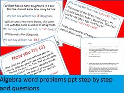 Algebra word problem step by step PPT with try it yourself questions
