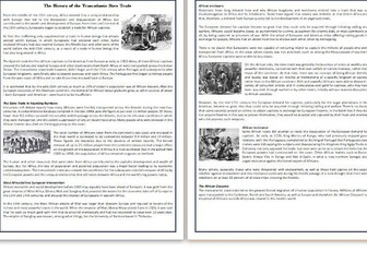 The History of the Transatlantic Slave Trade - Reading Comprehension - Informational Text